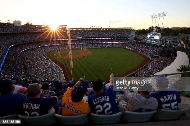 A general view of Dodger Stadium during the second inning of game two of the 2017 World Series between the Houston Astros and the Los Angeles Dodgers...