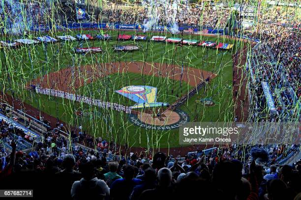 General view of Dodger Stadium for the final game of the 2017 World Baseball Classic between Puerto Rico and the United States March 22 2017 in Los...