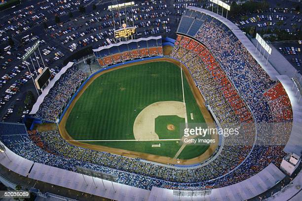 General view of Dodger Stadium home of the Los Angeles Dodgers during a game in the 1990 MLB season at Chavez Ravine in Los Angeles California