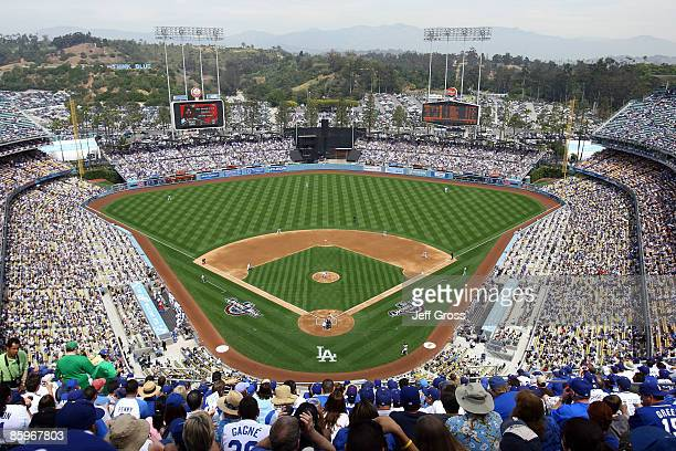 A general view of Dodger Stadium is seen during the first pitch of the game between the Los Angeles Dodgers and the San Francisco Giants on April 13...