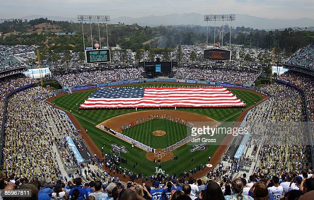 General view of Dodger Stadium is seen during the National Anthem prior to the start of the game between the Los Angeles Dodgers and the San...