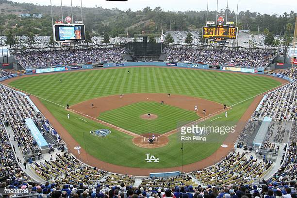 A general view of Dodger Stadium showing the special logos during the game to celebrate Jackie Robinson Day between the Los Angeles Dodgers and the...