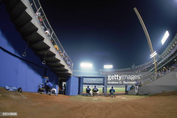 A general view of Dodger Stadium taken during a night season game in Los Angeles California