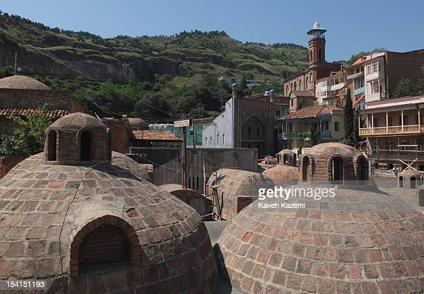 A general view of domes of sulphur baths seen on June 8 2012 in Tbilisil Georgia Tbilisi has long been famous for the pipinghot sulphur water that...