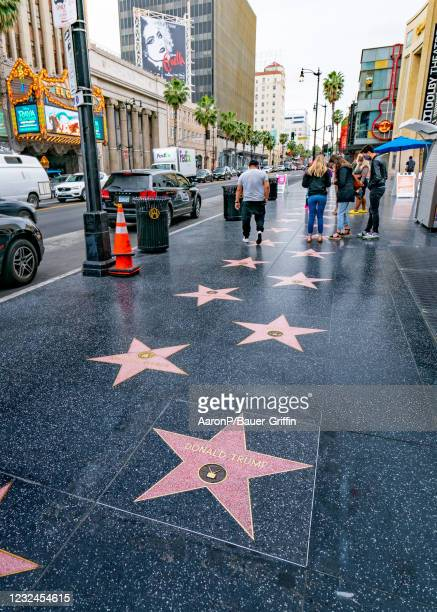 General view of Donald Trump's Star on the Walk of Fame, unveiled for the first time after being destroyed in early October 2020 and then covered...