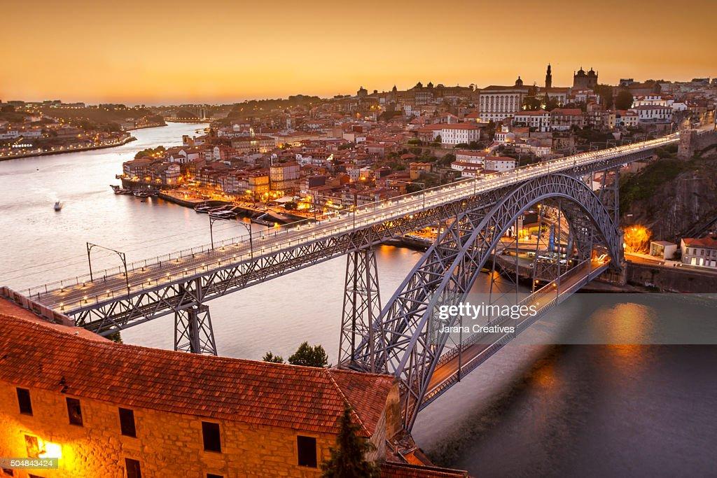 General view of Douro river and city of Oporto al sunset. Porto (Oporto), Portugal : Stock Photo