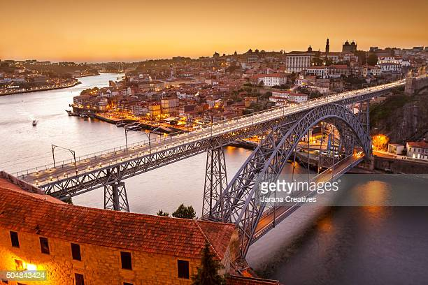 General view of Douro river and city of Oporto al sunset. Porto (Oporto), Portugal