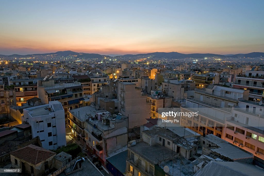 General view of downtown at dusk : Stock Photo