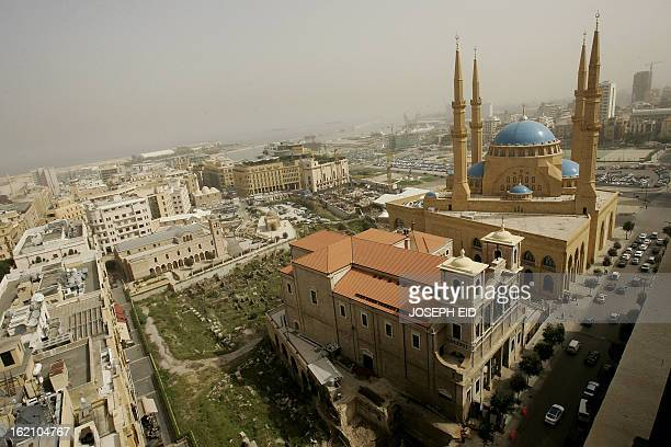 A general view of downtown Beirut shows the landmark Mohammed alAmin mosque and St George church on March 15 2010 AFP PHOTO/JOSEPH EID
