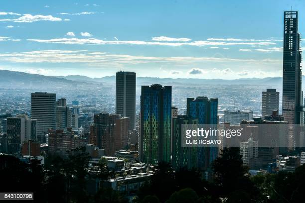 General view of downtown Bogota Colombia on September 5 2017 Pope Francis will make a special fourday visit to Colombia from September 611 to add his...