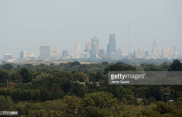 General view of downtown Kansas City is seen from the roof of the grandstands of the Kansas Speedway during the NASCAR Busch Series Yellow...
