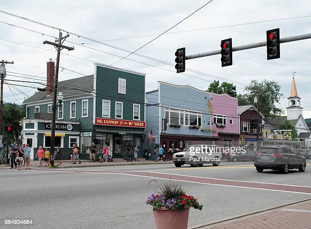 A general view of downtown North Conway on August 1 2016 in North Conway New Hampshire The region enjoys a four season tourist community including...
