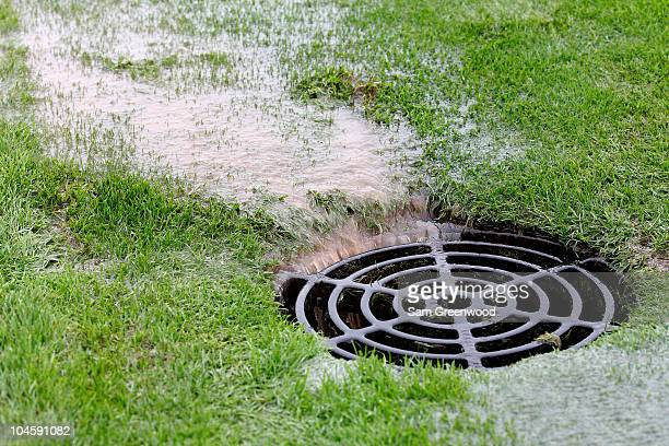 General view of drainage as rain falls and play is suspended during the Morning Fourball Matches during the 2010 Ryder Cup at the Celtic Manor Resort...