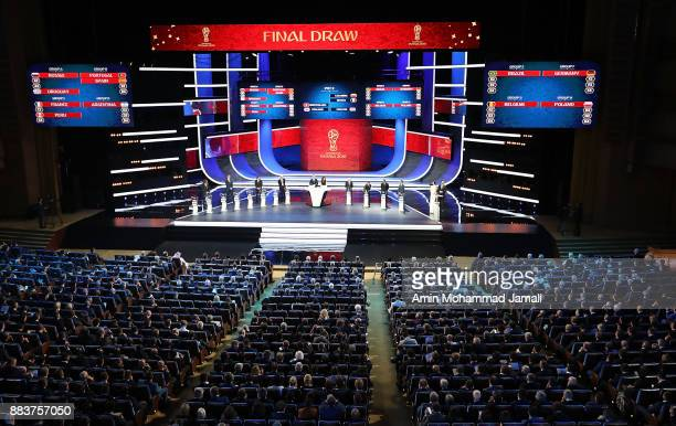 A general view of draw hall during the Final Draw for the 2018 FIFA World Cup Russia at the State Kremlin Palace on December 1 2017 in Moscow Russia