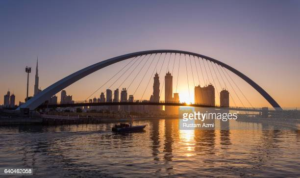 General view of Dubai canal at Sunrise on November 18 2016 in Dubai United Arab Emirates