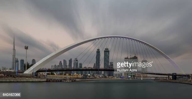 General view of Dubai canal at Sunset on December 09 2016 in Dubai United Arab Emirates