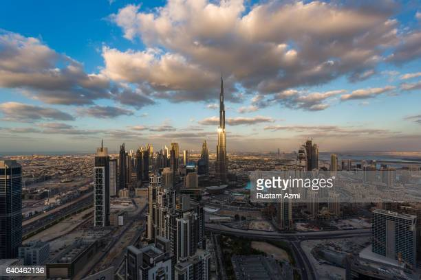 General view of Dubai Downtown at Sunset on December 10 2016 in Dubai United Arab Emirates