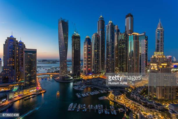A general view of Dubai Marina at Sunset on March 13 2015 in Dubai United Arab Emirates