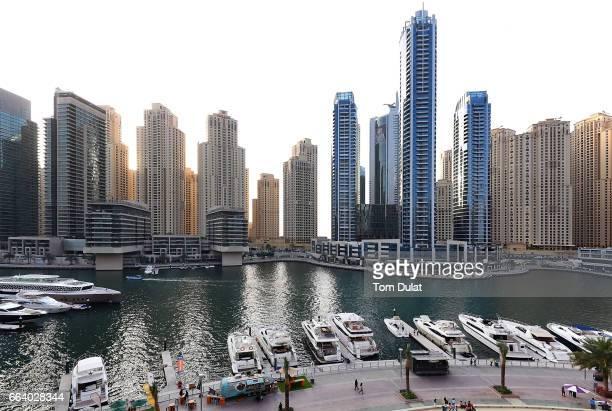 General view of Dubai Marina on April 2 2017 in Dubai United Arab Emirates