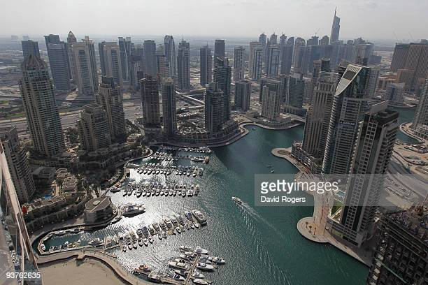 A general view of Dubai Marina on December 3 2009 in Dubai United Arab Emirates Stock markets in the Dubai and Abu Dhabi fell sharply this week after...