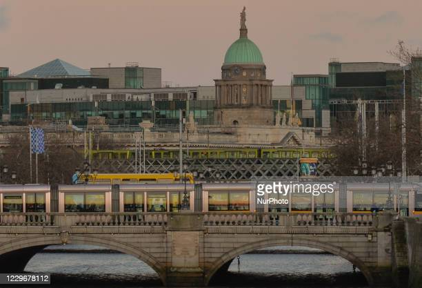General view of Dublin city center during a cloudy weather. On Wednesday, November 18 in Dublin, Ireland.