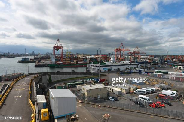 A general view of Dublin container terminals ready for upcoming Brexit date On Friday May 31 in Dublin Ireland
