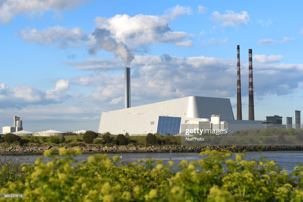 A general view of Dublin Waste-to-Energy Facility also know as Poolbeg Incinerator, located in Poolberg Peninsula. On Saturday, May 5 2018, in Dublin, Ireland.