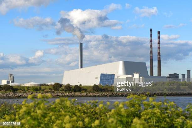 A general view of Dublin WastetoEnergy Facility also know as Poolbeg Incinerator located in Poolberg Peninsula On Saturday May 5 2018 in Dublin...
