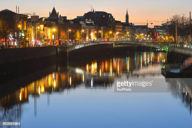 General view of Dublin with the Ha'Penny Bridge, during the Christmas Season 2017, just a week ahead of Christmas. On Saturday, 16 December 2017, in...