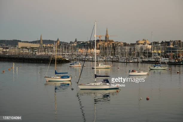 General view of Dun Laoghaire marina at sunset, during level 5 COVID-19 lockdown. On Saturday, April 3 in Dun Laoghaire, Dublin, Ireland.