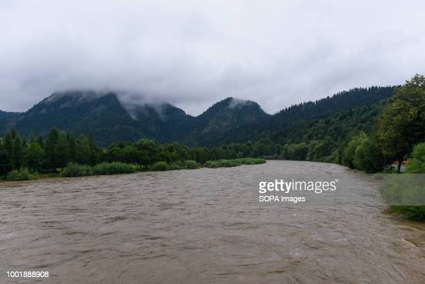 A general view of Dunajec river with high water level at Pieniny National Park Southern Poland and northern Slovakia on flood alert due to extreme...