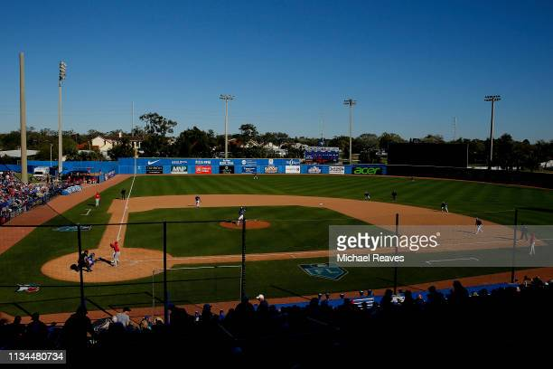 A general view of Dunedin Stadium during the Grapefruit League spring training game between the Toronto Blue Jays and the Philadelphia Phillies on...