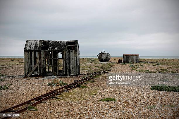 A general view of Dungeness beach on October 07 2015 in Dungeness England The expanse mainly shingle is so large that it has been called Britain's...