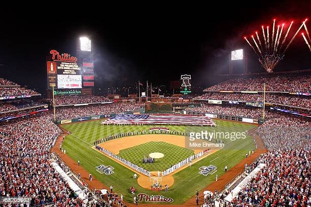 A general view of during the playing of the National Anthem before Game One of the National League Championship Series between the Los Angeles...