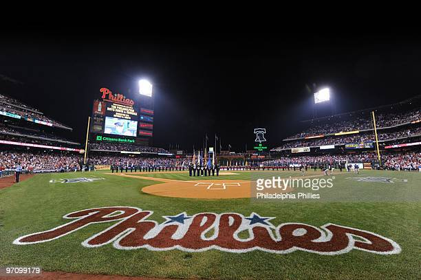 General view of during the playing of the National Anthem before Game One of the National League Championship Series between the Los Angeles Dodgers...