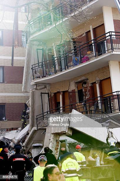 General view of earthquake-damaged student apartments on April 6, 2009 in L'Aquila, Italy. The 6.3 magnitude earthquake tore through central Italy,...