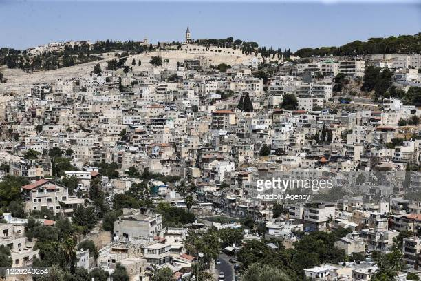 General view of East Jerusalem as Palestinians gather to protest Israel's destruction in the area after a Friday prayer in Silwan neighbourhood in...