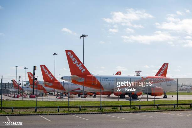 General view of Easyjet passenger planes parked at Southend Airport on April 14, 2020 in London, United Kingdom. EasyJet has currently grounded its...