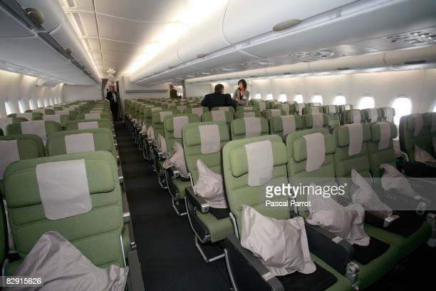 A general view of Economy Class cabin on the Airbus A380 before flying via Singapore to Sydney September 19 2008 in Toulouse France Quatas's first...