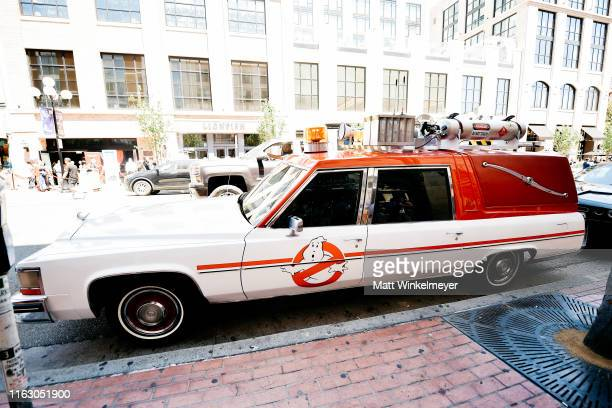 A general view of ECTO1 from Ghostbusters during the 2019 ComicCon International on July 19 2019 in San Diego California