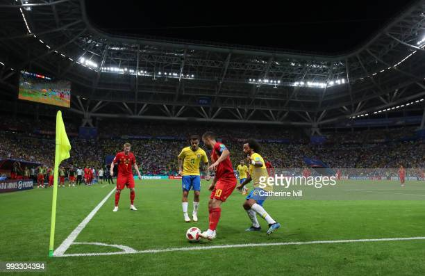 General view of Eden Hazard under pressure during the 2018 FIFA World Cup Russia Quarter Final match between Brazil and Belgium at Kazan Arena on...