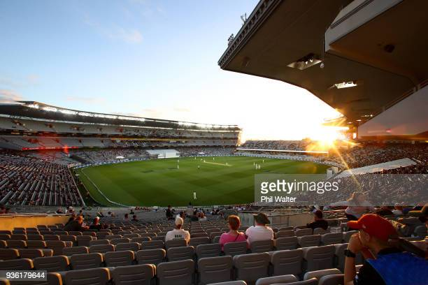 General view of Eden Park as the sun setw during day one of the First Test match between New Zealand and England at Eden Park on March 22, 2018 in...