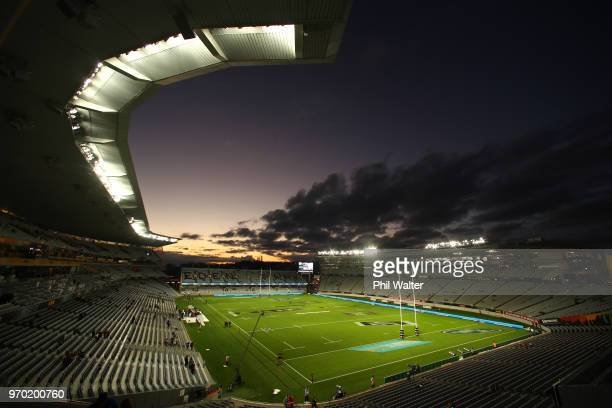 General view of Eden Park before the International Test match between the New Zealand All Blacks and France at Eden Park on June 9, 2018 in Auckland,...