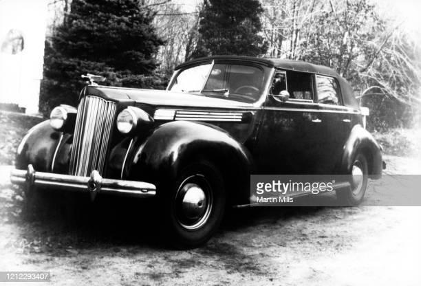 General view of Edie Adams' 1940 four-door Packard circa 1944 in Lily Lake, Pennsylvania.