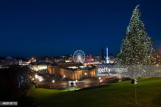 General view of Edinburgh from the top of The Mound during the start of Hogmanay celebrations on December 30 2014 in Edinburgh Scotland
