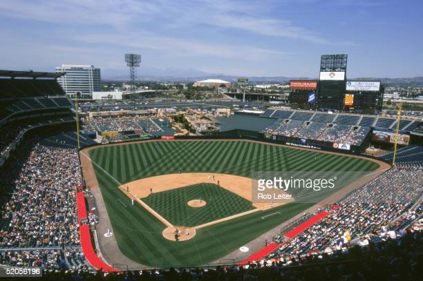 A general view of Edison Field taken in 2002 during an Anaheim Angels season game in Anaheim California