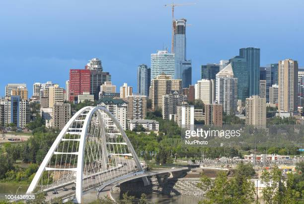 A general view of Edmonton's downtown with the Walterdale Bridge and Stantec Tower under construction On Sunday July 22 in Edmonton Alberta Canada