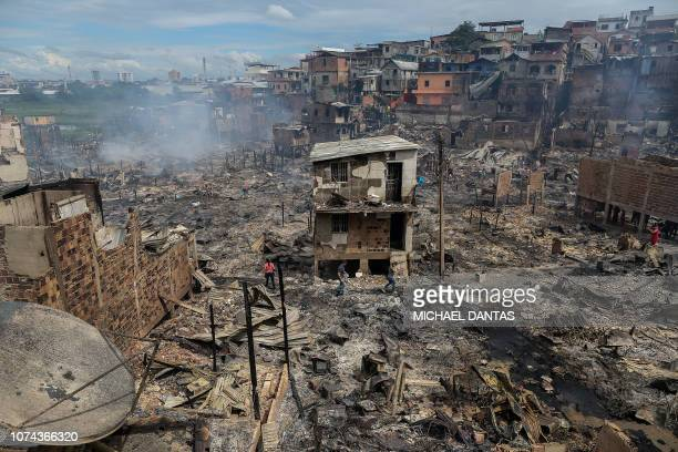TOPSHOT General view of Educandos neighbourhood the day after a massive fire ravaged the area in Manaus Amazonas state Brazil on December 18 2018 A...