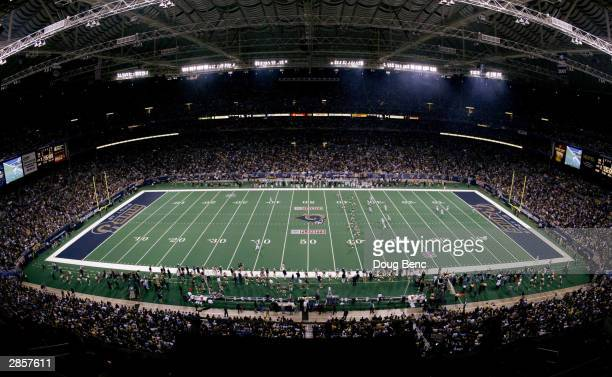 General view of Edward Jones Dome during kick-off as the Carolina Panthers take on the St. Louis Rams in the NFC Divisional Playoffs on January 10,...