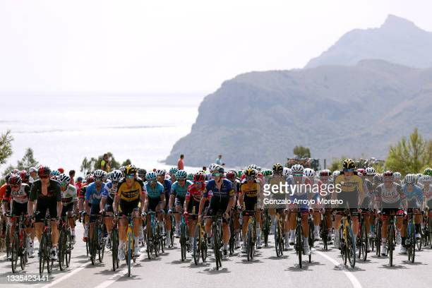General view of Egan Arley Bernal Gomez of Colombia and Team INEOS Grenadiers white best young jersey, Pavel Sivakov of Russia and Team INEOS...